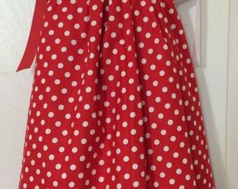 Red & White Polka Dots Pillowcase Dress Size 3T
