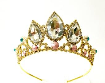 SALE Rapunzel white sparkle Tiara,Rapunzel Crown, Tangled Crown, Tangled Tiara ,Princess Rapunzel, Gold Tiara, Rapunzel Tangled Costume