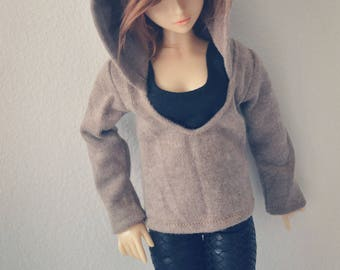 Bjd Brown Hoodie shirt for  1/4 msd,1/3 SD17 Uncle Customized  Doll Clothes CMB54