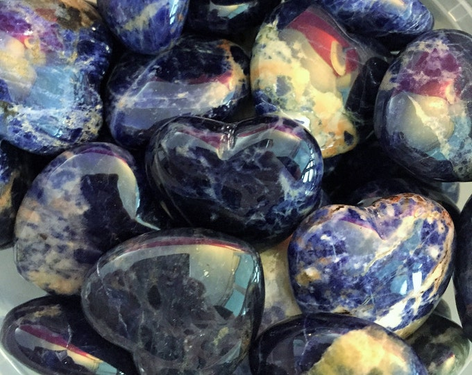 Blue Sodalite Hearts infused with Reiki/ Healing Crystals and Stones