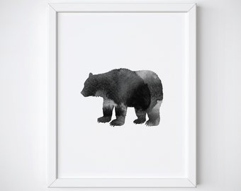 Bear Print - Bear art - bear wall art - bear - nursery print - bear decor - nursery art - bear printable - bear watercolor - black and white