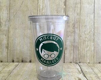 Harry Potter Tumbler, Harry Potter Starbucks Tumbler, Harry Potter Gift, Harry Potter Mischief Managed Tumbler, Starbucks Cup, Birthday Gift