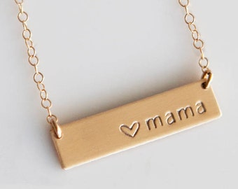 Mama Bar Necklace/Nameplate Necklace/Mothers Day Gift /New Mom Gift/Gold Fill/Sterling Silver/Gold Bar Mama Necklace/Gold Mama Necklace/N290