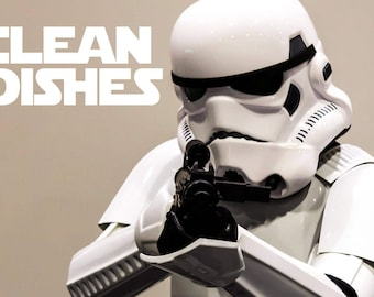 "Star Wars Stormtrooper Reversible Magnetic Dishwasher Sign | Geek Kitchen | Clean Dirty Dishwasher | ""Clean"" and ""Dirty"" Stormtrooper"