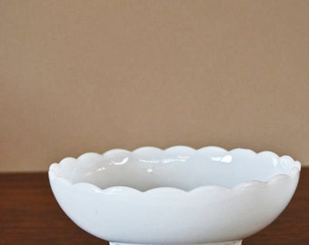 Vintage Milk Glass Bowl, Vintage Glass Candy Dish