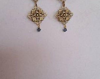 Gold Tone Filigree Drop Earrings