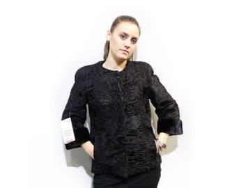 Real Astrakhan Fur with Mink Fur Jacket F424