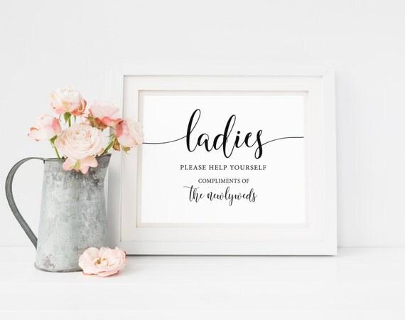 Ladies wedding bathroom sign bathroom basket sign ladies for Wedding reception bathroom ideas
