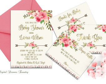 Floral Baby  Shower Invitation Printable Boho Baby Shower Invite Blush Pink Baby Bohemian Baby Invitation Roses Baby Invitation Spring