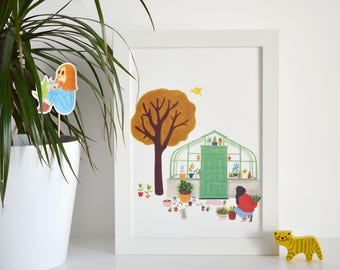 A4 poster - Woman in the garden