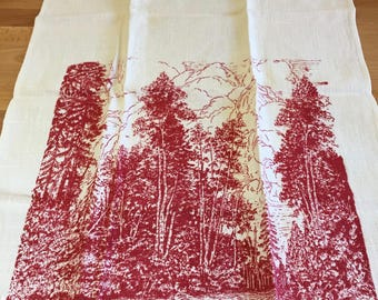 "Vintage Silkscreened Tea Towel ""The North Woods"" 