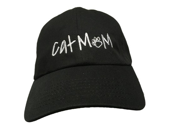 Cat Mom with Paws (Polo Style Ball Cap - Black with White Stitching)