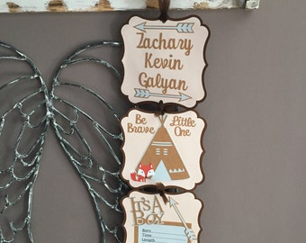 Hospital Door Announcement, Teepee Fox Arrow Hospital Door Hanger, Be Brave Little One, Personalized It's A Boy, Door Hanger, Brown and Gray