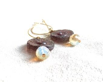 Small Spiral Earrings gold hoop earrings mauve Czech glass earrings crystal nautilus earrings beaded earrings delicate earrings gift for her