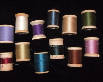 Belding Corticelli Thread on Wooden Spools, Group of 12