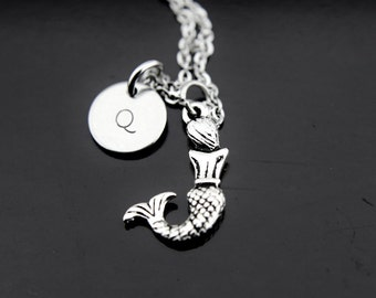 Mermaid Necklace, Silver Mermaid Charm Necklace, Fantasy Jewelry, Mermaid Charm Necklace, Personalized Necklace, Initial Charm