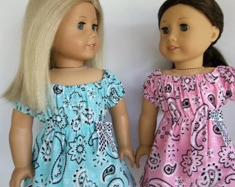 18 inch doll clothes, bandanna print peasant dress, pink or aqua,  fit dolls like American Girl