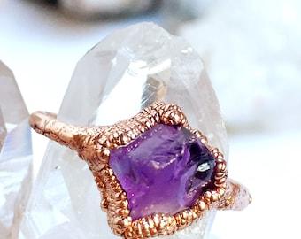 Electroformed Amethyst Ring | Raw Amethyst Ring | Amethyst and Copper | February Birthstone | Birthstone Ring
