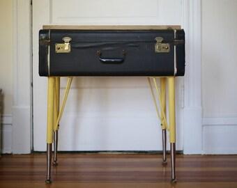 vintage suitcase turned table