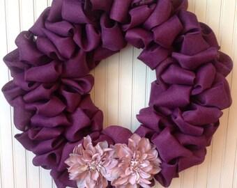 Purple burlap wreath, purple wreath, burlap wreath, Easter wreath, spring burlap wreath, summer burlap wreath, fall wreath, floral wreath