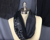 Detroit scarf, Women's Infinity Scarf, Black n Gray Scarf, Handmade One of A Kind Upcycled T shirt Scarf, Motor City, Eight Mile, One Wrap