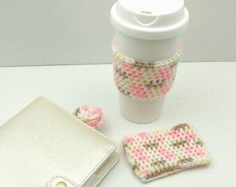 Cute Multi-Colored Crochet Cup Cozy: Coffee/Tea Sleeve    [064]