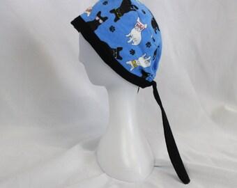 French Bulldog FLANNEL Surgical Scrub Cap Chemo Hat