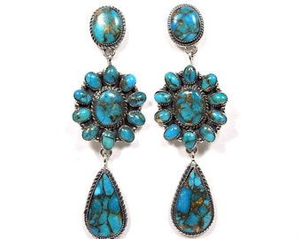 Genuine Turquoise & 925 Sterling Silver Southwestern Jewelry Stud, Post Dangle Earrings. 2-3/4'' long. Free Shipping in USA