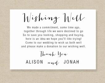 Printable Wedding Wishing Well Card Template
