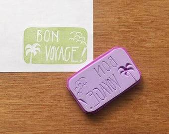 Bon Voyage stamp, holiday rubber stamp, vacation eraser stamp, handmade pattern rubber stamp, hand carved stamp