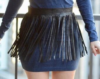 Leather Fringe Belt, Black Fringe Skirt Belt, Black Leather Fringe Belt, Leather Skirt Belt, Black Leather Wrap Belt,Black Leather Wrap Belt