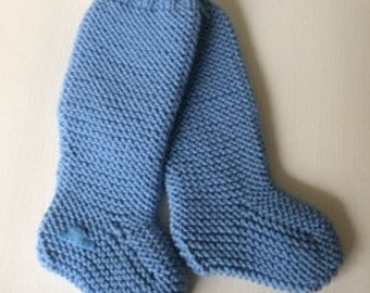 Hand knitted baby Cosy Carrier Socks in blue with cashmere size 0 - 3 months