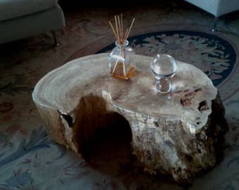 Wooden coffee table urban, unique piece made from a portion of the trunk, eco-friendly furniture