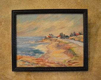 "Mid Century 1948 Impressionist Oil, California Coast, 7"" x 9"", Unfinished Painting on the Back, Hotel Del Coronado Coastline, San Diego"