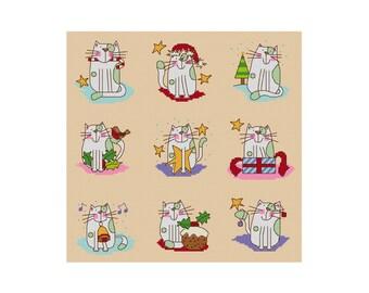 Small Christmas Cats - Set of 9 - Durene J Cross Stitch Patterns