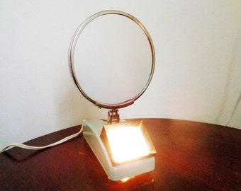 Lighted Magnifying Vanity Mirror, 2 sided mirror, Vintage Shaving Mirror, Adjustable Double Sided Lighted Mirror, 360 degree swivel, 1987