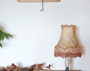 Bell Shaped Vintage Lamp, Brass Base Table Lamp with Claw Feet, Fringed Parchment Lamp, French Rococo Style Desk Lamp, Skin Lamp Shade