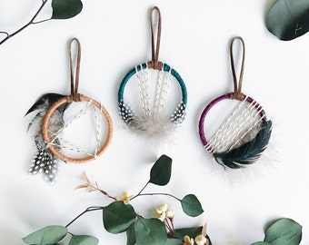 Small Dreamcatcher - Boho Party Favors - Modern Bohemian Home Decor - Boho Chic Gift for Friends - Mini Dream Catcher - Jewel Tone Decor