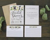 Floral Bridal Shower Invitation & Matching Recipe Card - Bridal Shower Printable - Bridal Shower Recipe Cards - Customizable Invite