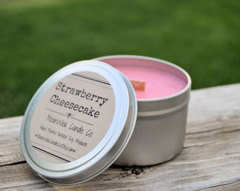 Strawberry Cheesecake Soy Candle Tins - 6oz. & 8oz.'s    Soy Candle Tin   Strawberry Candle   Cheesecake   Strawberry   Strong Bakery Scents