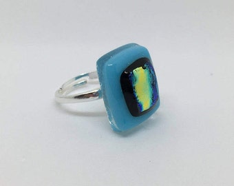 Light Blue, Black and Gold Dichroic Fused Glass Rectangle Sterling Silver 925 Ring