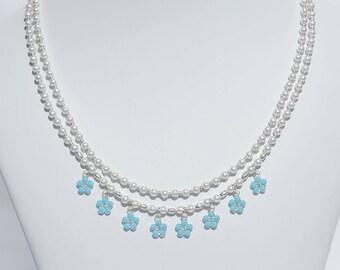 Swarovski white crystal pearl 2-strand necklace with Swarovski flower drops
