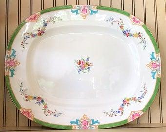 Antique Minton's - Large Serving Platter - Minton Rose Pattern - England - c. 1908 - Exquisite Piece - Vibrant Colors - Wedding Decor