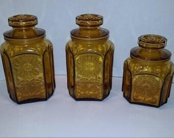 Amber Sunflower Glass Canister Set