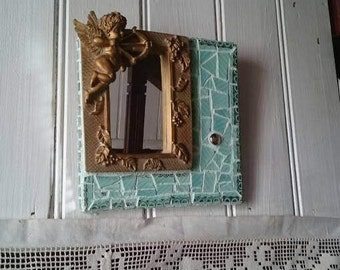 Small Mosaic Mirror, Vintage Plates and Cherub Mosaic,Turquoise and Gold Picassiettes Mirror