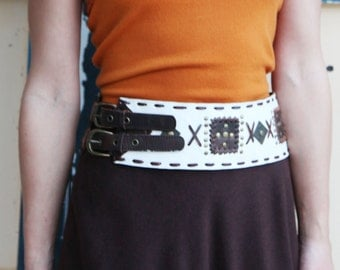 Vintage,retro white handmade high waist leather belt.