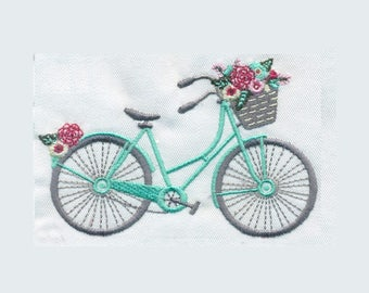 Bicycle with flowers Embroidery Design - Instant Digital Download