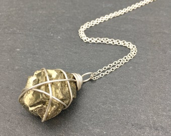 Pyrite Crystal Necklace - Sterling Silver - Wire Wrapped - Crystal Healing Jewellery