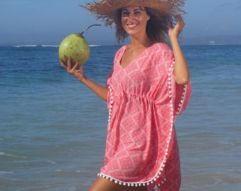 SALE!Summer Pompom Poncho/Pompons Beach dress/Pompons Beach tunic/Beach wear * DAKAR Pompom PONCHO