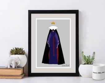 Disney Villain The Evil Queen Poster/Print - minimalist snow white evil queen poster art decor